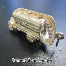 Vintage solid sterling silver Chim charm en forme de Open top bus, c1975