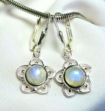 Mondstein Blüten Ohrhänger 925 Silber Klappbrisur superblaue Steine UNIKAT