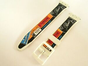 Replacement Patterned Resin 17mm Watch Strap Swatch Watch Fitting Pins UK Seller