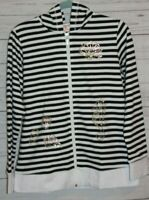 Quacker Factory Womens Hoodie Black White Stripe Full Zip sequin Embellished S
