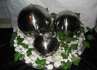 Kugelbrunnen 3er-Set 30/25/15 cm Springbrunnen Gartenbrunnen Edelstahl