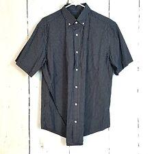 Cherokee sz L mens button down shirt short sleeve navy blue white plaid check