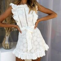 Fashion Embroidery Lace Ladies Dress Hollow Out Sashes Ruffle White Summer Dress