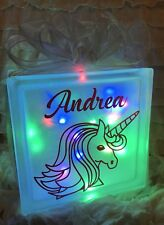 LED Personalised Unicorn Glass Light Up Block Lamp Gift Birthday Night Light