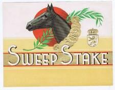 Sweep Stake, original inner cigar box label, Horse