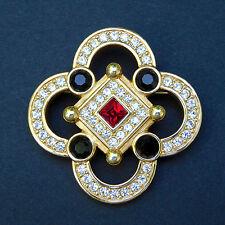 Swarovski Swan Logo Quatrefoil Pin Brooch Rhinestones Channel Set Red Black Gold