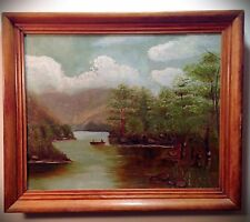 Beautiful Antique Oil Painting On Academy Board Rural Lake/River Scene