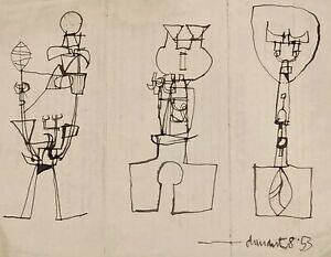 """Roy Turner Durrant (1925-1998) """"Three Standing Figures"""" ink 1953"""