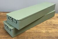 "Lot of 2 Long 21"" Bank Safe Deposit Boxes Metal Slide Tray Box 21x5x3"""