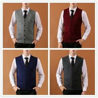 Men Wool Vest Sleeveless Cardigan Jumper Slim Cable Knit Waistcoat Gilet Top New