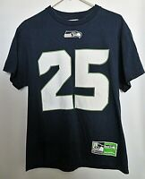 Seattle Seahawks T-Shirt NFL #25 Sherman Football Navy Blue Unisex Size Medium