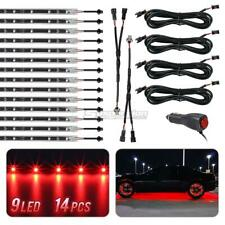 14x Red 3 Mode 3528 LED Chips Neon Light Strips Bar Underglow Underbody Kit