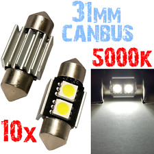10 Lamp Navette 31mm 5000k LED SMD 5050 CANBUS Blanc Compteur Voiture PLAQUE 2A9