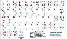 GERMAN-TURKISH Q-ENGLISH UK KEYBOARD STICKER NON TRANSPARENT WHITE BACKGROUND