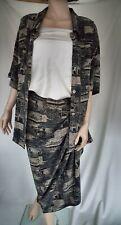Two Piece Silk Set Adrienne Vittadini Blouse & Wrap Skirt  tropacal motif XXL