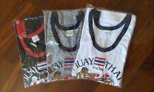 3 X White Black Grey Color Muay Thai Cotton T-shirt S-Xl Size.