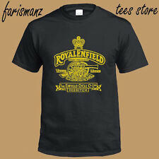 New Royal Enfield Classic Motorcycle Logo Men's Black T-Shirt Size S to 3XL