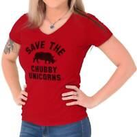 Save The Chubby Unicorns Funny Rhino Hipster Womens Juniors Petite V-Neck Tee
