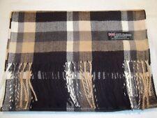 New 100% Cashmere Scarf Soft 72X12 Black Beige Scotland Wool Check Plaid C2 Men