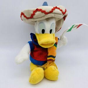 "WDW Disneyland Mexico Donald Duck Bean Bag Plush Mexican Flag Sombrero 9"" Disney"