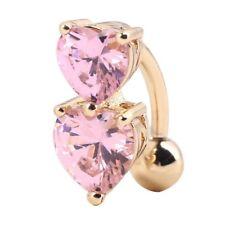 (88-10)  Bauchnabelpiercing  Piercing Stecker Doppelherz Gold-Rosa