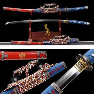 Clay Tempered Japanese Tachi Sword 1095 Carbon Steel Razor Sharp Battle ready