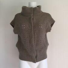 Free People Womens Sweater S Small Cap Sleeve Taupe Cardigan Lambswool Angora