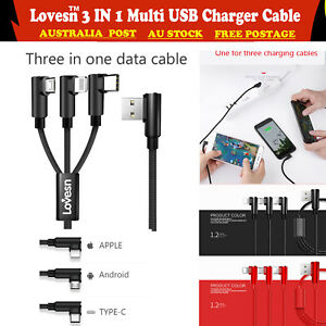 1.2M One For Three USB Charger Cable Cord Data for Apple Android TYPE-C