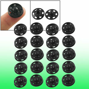Clothes Sewing 15mm Press Studs Snaps Fasteners Buttons Black 20 Pcs