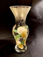 """Vintage Hand Blown Hand Painted Glass Vase Gold Floral 9"""" w/ 4"""" Opening"""