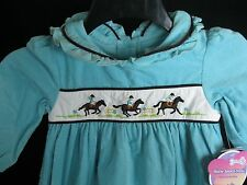 NWT  Girls 2T Month Blue Corduroy Western Dress Long Sleeve Cowboy Horse CUTE
