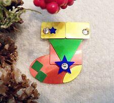 Red Green Gold Tone X20B Classic Christmas Pin Brooch Stocking Rhinestones