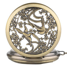 Vintage Magpie Skeleton Design Men Automatic Mechanical Pocket Watches Necklace