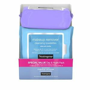 3 pack Neutrogena Day & Night Wipes 25ct each w/Makeup Remover Face Cleansing...