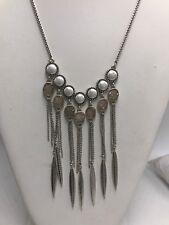 $55 Lucky Brand silvertone druzy stone & imitation pearl statement necklace  l86