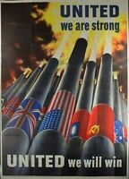1943 United We Are Strong United We Will Win Vintage Original WWII Poster