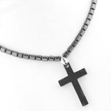 Boho Hematite Cross Protection Gypsy Pendant Bead Necklace PB28 Free Gift Box