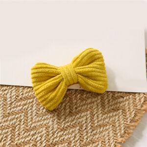 Child Bowknot Hairpin Yellow BB Clip Charm Sweet Cotton Blend Kid Cute Hair Clip
