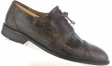 David Eden Exotic Ostrich Leg Oxfords Cap Toe Brown Shoe Mens 9.5