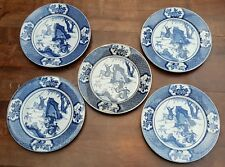 """5 Antique Ming Chinoiserie Petrus Regout BlueWhite Wall Plates Mongolian Hunt 9"""""""