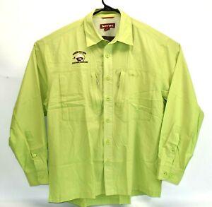 Simms Men's Guide Long-Sleeve Button Down Fly Fishing Shirt Green Sz Large Cor3