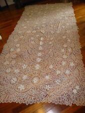 """Exceptional Antique Renaissance Tape Lace Banquet Tablecloth 84""""x 152"""" White"""