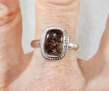 Small Black Rutilated Quartz Rectangle Ring 925 Sterling Silver Size 10