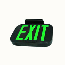 NEW GREEN BLACK ALL LED Exit Sign Emergency Light Combo UL924 USA Seller