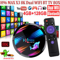 8K UHD H96 MAX X3 4+128G Android 9.0 TV BOX Dual WIFI BT 3D USB Amlogic S905X3