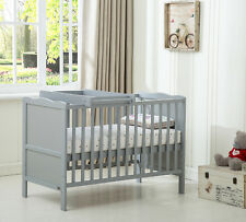 """MCC Wooden Baby Cot Bed """"orlando"""" Top Changer Water Repellent Mattress Grey"""