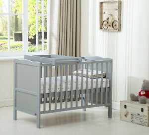 "MCC® Wooden Baby Cot Bed ""Orlando"" Top Changer Water repellent Mattress - Grey"