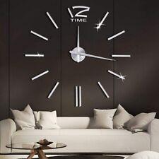 Design Wand Uhr Wohnzimmer wanduhr Spiegel Edelstahl wandtattoo Deko 3D