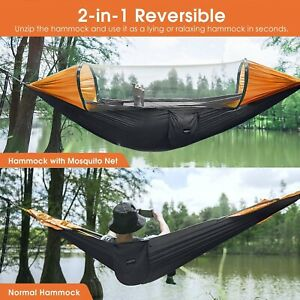 MLIA Large Camping Hammock with Mosquito Net 2 Person Pop-up Parachute Lightweig