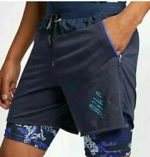 $65 New Nike Men's L Wild Run 2-In-1 Running Shorts Dri-Fit Obsidian Blue Ao5185